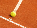 Tennis court line with ball outside in the Royalty Free Stock Photography