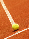 Tennis court line with ball outside in a Royalty Free Stock Photography