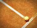 Tennis court line with ball outside Royalty Free Stock Photo
