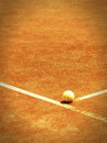 Tennis court line with ball pinhole look with vignette Royalty Free Stock Photos