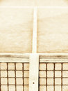 Tennis court with line and net high key Royalty Free Stock Images