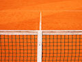 Tennis court with line and net outside Royalty Free Stock Photos