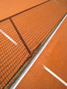 Tennis court with line and net shadow Stock Photo