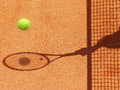 Tennis court net and racket shadow with ball Stock Photos