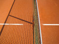 Tennis court outside in a ennis with line and net and net shadow Royalty Free Stock Photography
