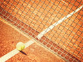 Tennis court outside in a with line tennisball and net net in focus Royalty Free Stock Photos