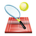 Tennis court with racket and ball Stock Photo