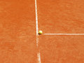 Tennis court t line with ball outside in a Stock Photo