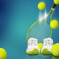 Tennis equipment on the blue background Stock Photography