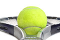 Tennis gear ball and racquet white background Stock Photography