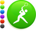 Tennis icon on round internet button Royalty Free Stock Image