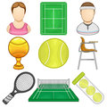 Tennis icon sport illustration of a set Stock Image