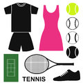 Tennis isolated objects on white background vector illustration eps Royalty Free Stock Photos