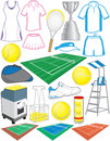 Tennis items equipment used in the sport of Stock Photo