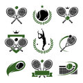 Tennis labels and icons set vector illustration Royalty Free Stock Photos