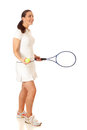 Tennis player adult woman playing studio shot over white Royalty Free Stock Photography