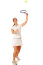 Tennis player adult woman playing studio shot over white Royalty Free Stock Image