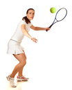 Tennis player adult woman playing studio shot over white Royalty Free Stock Photos