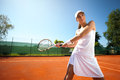 Tennis player attractive young woman playing Royalty Free Stock Photo