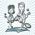 Tennis player couple cartoon Royalty Free Stock Photo