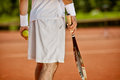 Tennis player on court, back view Royalty Free Stock Photo