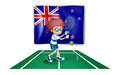 A tennis player in front of the flag of new zealand illustration on white background Royalty Free Stock Photo