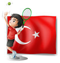A tennis player in front of the flag of turkey illustration on white background Royalty Free Stock Images