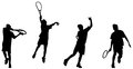 Tennis player hight backhand vector and illustration of silhouettes and shadows Stock Photos