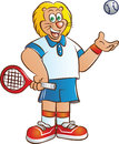 Tennis player lion mascot vector illustration of in sport costume with racket and ball Stock Images