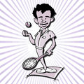 Tennis player man cartoon Royalty Free Stock Photo