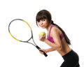 Tennis player with racket Royalty Free Stock Images