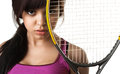Tennis player with racket Stock Image