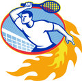 Tennis player racquet retro illustration of a holding set inside oval with fiery fire flames on isolated background done in style Royalty Free Stock Photos