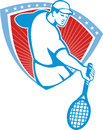 Tennis player racquet shield retro illustration of a holding set inside crest with stars on isolated background done in style Stock Photography