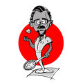 Tennis player senior man cartoon Royalty Free Stock Photo