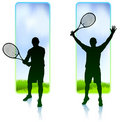 Tennis Player set with Nature Frame Background Stock Photo