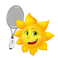 Tennis player sun with racket isolated on white background Stock Image