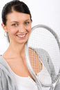 Tennis player woman young smiling hold racket Stock Images