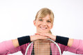 Tennis player woman young smiling leaning racket Royalty Free Stock Images
