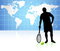 Tennis player with world map background original illustration Royalty Free Stock Photo