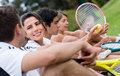 Tennis players group of taking at the court Royalty Free Stock Images