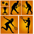 Tennis players vector illustration set over orange background Royalty Free Stock Images