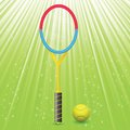 Tennis racket and ball colorful illustration with on a green background Stock Image