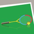 Tennis racket and ball colorful illustration with on a green background Royalty Free Stock Image
