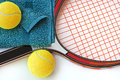 Tennis racket balls and towel close up Royalty Free Stock Photos