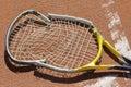 Tennis racket crashed Royalty Free Stock Photo