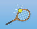 Tennis racket hit hitting ball Stock Photos