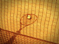 Tennis racket and net shadow with ball in the court old photo look Stock Image