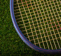 Tennis racket old resting on a grass background Royalty Free Stock Images