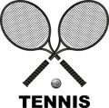 Tennis rackets and ball symbol in black color Royalty Free Stock Photography